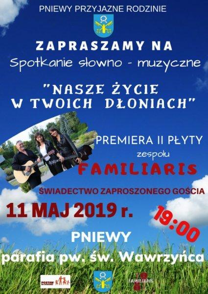 Zaproszenie na premierę II płyty zespołu FAMILIARIS